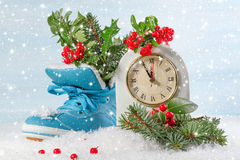 New Year clock with blue shoe Stock Images