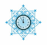 New Year Clock. In blue Snowflake Royalty Free Stock Photos
