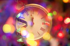New year clock and blur light. Before midnight royalty free stock photo