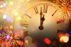 New year clock and blur light. Before midnight royalty free stock photos