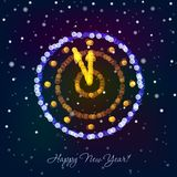 New Year clock in bokeh lights. On a dark background. Vector illustration Stock Images