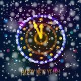 New Year clock in bokeh lights. On a dark background. Vector illustration royalty free illustration