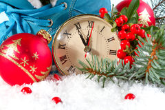 New Year clock with Christmas balls Stock Photo