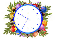New Year clock and christmas balls, pine cones, fir branches Royalty Free Stock Photography