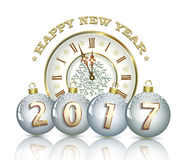 New Year 2017 with clock and Christmas balls. On a white background Royalty Free Stock Image
