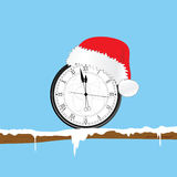 New year clock with christmas hat and snow illustration royalty free illustration