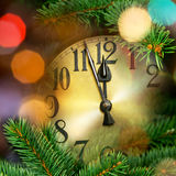 New year clock. With christmas tree and decoration Stock Image