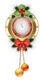 New year clock with Christmas trees and  mistletoe toys with red bows Royalty Free Stock Image