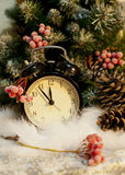 New Year clock. Cones. Snow Christmas tree Royalty Free Stock Photography