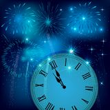 New year clock counting down with colorful fireworks. New Year`s eve illustration, card with colorful fireworks. Greeting card with fireworks background Stock Photos