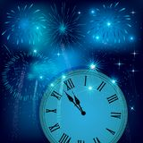 New year clock counting down with colorful fireworks. New Year`s eve illustration, card with colorful fireworks. Greeting card with fireworks background Stock Photo