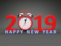 New Year 2019 with Clock. 3D Rendered Image royalty free illustration