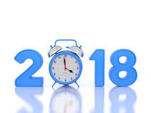 New Year 2018 with Clock. 3D Rendered Image Stock Photos