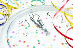 New Year clock and decorations Royalty Free Stock Image