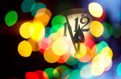 New year clock. Face of new year clock with colored decoration Royalty Free Stock Images