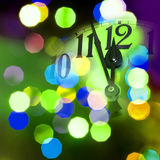 New year clock. Face of new year clock with colored light Stock Images