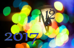 New year clock. Face of new year clock with text 2017 Stock Image
