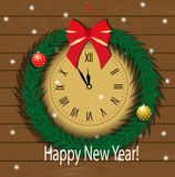 New year clock. With fir branch around it hanging on the wall of wooden planks stock illustration