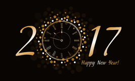 New Year Clock 2017. 2017 Happy New Year background with gold clock Stock Images