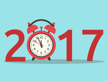 New Year 2017, clock. Happy New Year 2017 with red clock on blue background. New year, happy and christmas concept. Flat design. Vector illustration. EPS 8, no Stock Photos