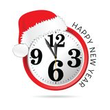 New year clock with hat illustration vector illustration