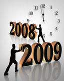 In with the New Year clock illustration 2009 Stock Photos