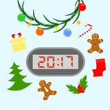 New year clock. Illustration dedicated to the holiday - New Year Stock Photos