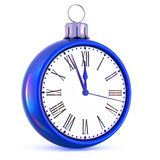 New Year 12 clock last hour midnight time countdown blue. New Year 12 clock last hour midnight time countdown pressure. Christmas ball decoration ornament white royalty free illustration