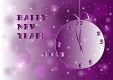 New year 2018 clock. Lilac vector illustration