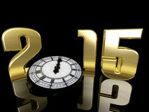2015 New Year Clock. New Year clock lying on its side only a minute away from midnight.  Happy New Year Stock Photography