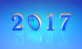 New Year 2017. Clock, midnight...Merry Christmas. 3D illustratio. Christmas symbol the clock. New Year 2017. Blue art background. 3D rendering. Available in high Royalty Free Stock Photography