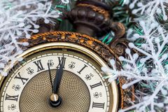 2018 new year clock before midnight.  Stock Images