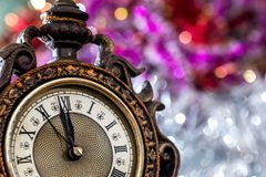 2018 new year clock before midnight.  Royalty Free Stock Photo