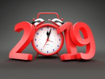 New Year 2019 with Clock. 3D Rendered Image stock illustration