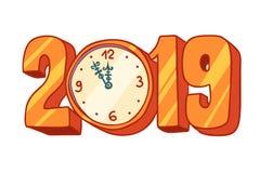 2019 new year clock. Pop art retro vector illustration kitsch vintage vector illustration