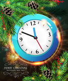 New Year Clock. Among pine branches with pine cones and winter berries on a sparkling holiday background stock illustration