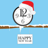 New year clock with red christmas hat illustration royalty free illustration