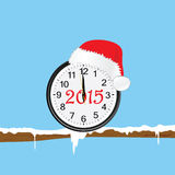 New year clock with red hat on a twig color vector Royalty Free Stock Images