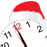 New year 2012 with clock and red hat. On white Royalty Free Stock Photo