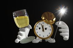New Year clock. New Year`s clock with a glass and fire. The illustration is isolated on a black background Royalty Free Stock Image