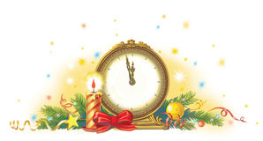 New year clock. Clock showing midnight on New Year`s Eve Stock Photos