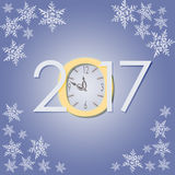 2017 New Year with clock and snowflakes creative illustration. On frozen background with snowflakes royalty free illustration