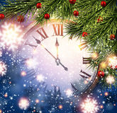 New year clock with snowy background. Royalty Free Stock Photography