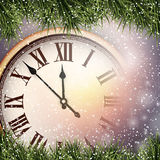 New year clock with snowy background. Royalty Free Stock Images