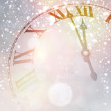 New year clock with snowy background. Royalty Free Stock Image