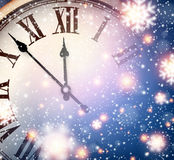 New year clock with snowy background. vector illustration