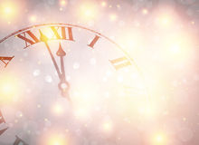 New year clock with snowy background. Stock Photography