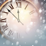 New year clock with snowy background. Royalty Free Stock Photo