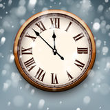 New year clock with snowy background. Stock Images