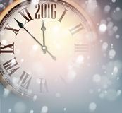 New 2016 year clock with snowy background. Vintage clock over snowfall christmas background. New 2016 year vector illustration Royalty Free Stock Image